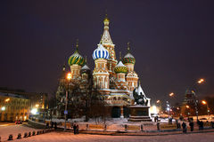 The Catthedral of the Intercession on the Moat on the red squere. Moscow Red square, St. Basil's Cathedral Pokrova on the Ditch winter in the evening light Stock Images
