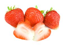catting的草莓 免版税库存照片