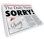 Cattiva segnalazione di parola di giornale del titolo di torto spiacente di scuse Immagini Stock