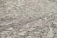 Cattiva terra secca del fiume con il concetto ambientale di disastro di siccità del terreno coltivabile delle crepe Fotografia Stock