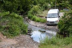 Cattive strade nel rumeno Banat Fotografia Stock
