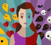 Cattivi e buoni thoughs di doppia personalità di disturbo mentale della donna bipolare della ragazza Fotografia Stock