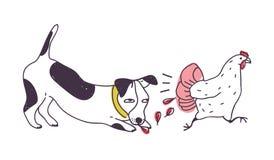 Cattivo cane che insegue pollo isolato su fondo bianco Cucciolo impertinente o perseguire canino, prendere e gallina mordace illustrazione vettoriale