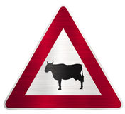 Cattle animal crossing sign Royalty Free Stock Photos