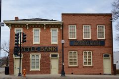 Cattle Bank. This is an early Spring picture of the historic Cattle Bank located in Champaign, Illinois.  The bank serving cattlemen in the area was built in the Stock Image