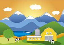 Cattle-breeding farm. A colorful vector illustration of mountain Cattle-breeding farm stock illustration