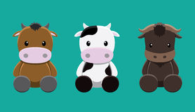 Cattle Cow Wildebeest Doll Set Cartoon Vector Illustration Stock Photography