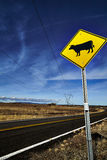 Cattle Crossing Road Sign Royalty Free Stock Photos