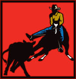 Cattle Cutting/ Sorting. Illustration of a cowboy on a horse sorting cattle Stock Photos