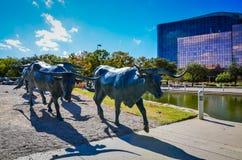 Cattle Drive Statue - Pioneer Plaza - Dallas, Texas Stock Image