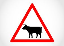 Cattle farms information road sign Stock Images