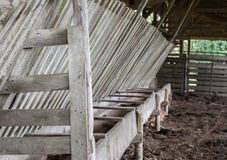 Cattle feed trough and hay rack in barn. Wooden barn structure with cattle feed trough and hay rack Stock Images