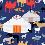 Illustration of mongolian animal husbandry, livestock in countryside. royalty free illustration