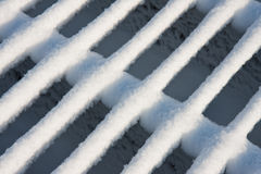 Cattle grid covered with fresh new snow Royalty Free Stock Image