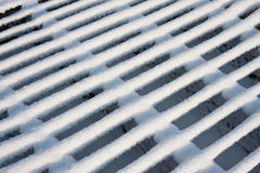 Cattle grid covered by virgin snow Royalty Free Stock Photography