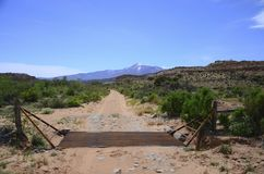 Cattle Guard and mountain range Stock Image
