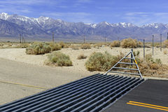 Cattle Guard in Road on Ranch in American West Stock Photography