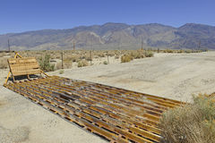 Cattle Guard in Road on Ranch in American West Stock Photos