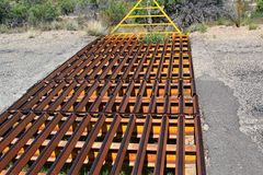 Cattle Gurad. Open Range cattle guard to prohibit livestock from leaving the area Stock Photo