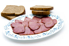 Cattle ham with toast bread on plate Stock Image
