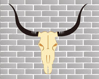 cattle skull ,brick wall Royalty Free Stock Photography