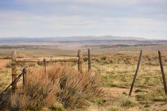 Cattleguard och staket Western Scene Arkivfoton