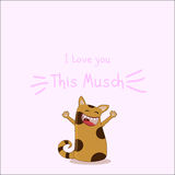 Catty Love. Loving cat, Love You card Royalty Free Stock Image