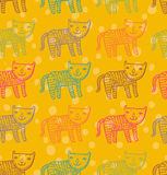 Catty pattern. Children's cute pattern - colorful cats in vector Royalty Free Stock Photography