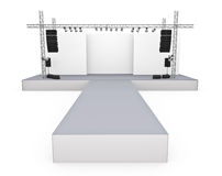 Catwalk. Empty fashion show stage with runway. 3D rendered image Stock Photography