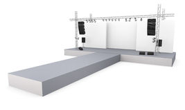 Catwalk. Empty fashion show stage with runway. 3D rendered image Royalty Free Stock Photography