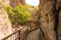 A catwalk across a canyon in new mexico Stock Photography