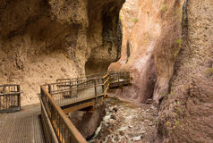 A catwalk across a canyon in new mexico royalty free stock images