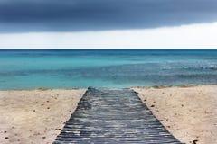 Catwalk on beach in Menorca island Stock Photo