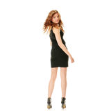 Catwalk fashion model. Posing isolated over a white background royalty free stock photo