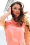 Pink summer dress woman fashion stock photography