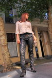 Catwalk new fall winter collection leather pants Royalty Free Stock Photography