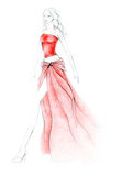 Catwalk Red Outfit. Fashion illustration depicting a catwalk model wearing red ensemble. Ink and colored pencils, clean background Stock Photography
