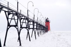 Catwalk to the Lighthouse on South Haven Pier Royalty Free Stock Images