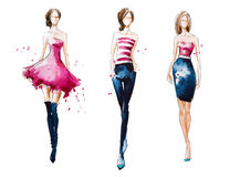 Catwalk. Watercolor fashion illustration Royalty Free Stock Images