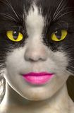 Catwoman with brightly yellow eyes.  Stock Photos