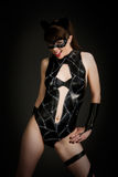 Catwoman costume. Young woman in a latex body paint catwoman outfit Royalty Free Stock Photo