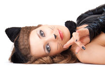 Catwoman laying. Stock Images