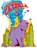 Catzilla. Vector illustration ideal for printing on apparel clothing stock illustration
