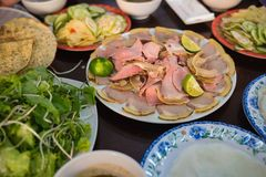 Cau Mong barbequed veal is as famous as Quang noodle in Da Nang and Quang Nam, Vietnam. It is also called with familiar name Cau M. Ong rare veal royalty free stock photos
