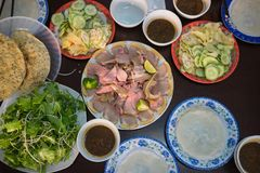 Cau Mong barbequed veal is as famous as Quang noodle in Da Nang and Quang Nam, Vietnam. It is also called with familiar name Cau M. Ong rare veal stock photo