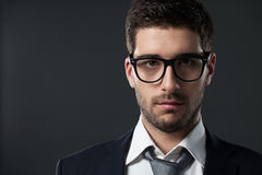 Caucaian affärsman With Glasses Arkivfoto