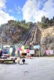 caucase Un funiculaire est dans le canyon du l'Adyr-Su Images stock