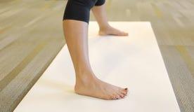Caucasian adult female in yoga class. Stock Images