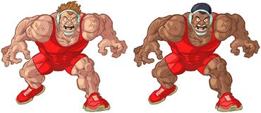 Caucasian and African American Wrestler Vector Mascots Stock Photos