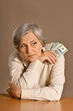 Caucasian aged woman Stock Images
